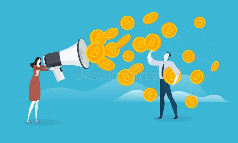 Маркетинг Bitcoin бесплатная иллюстрация