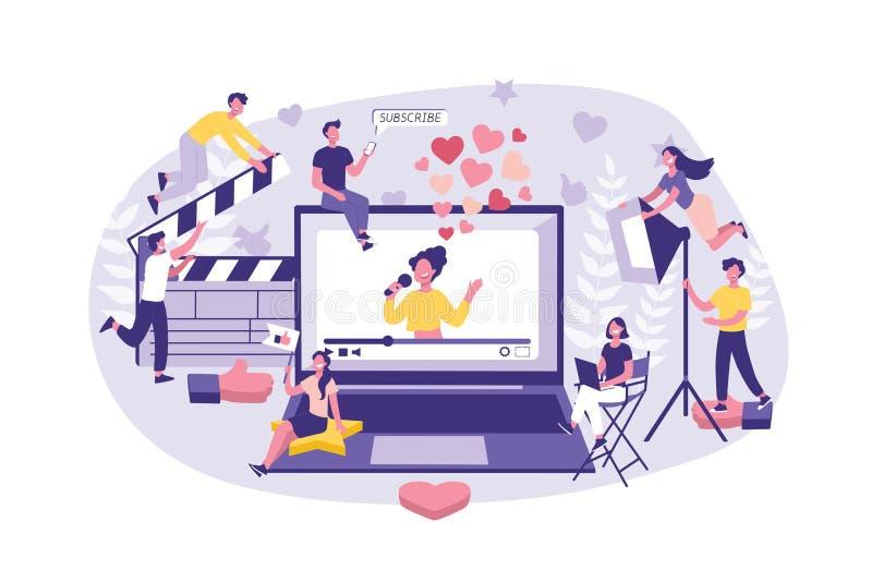 Маркетинг Influencer концепции дела Большая группа в составе сыгранность клерков готовая, снимать знаменитости и выдвижение  бесплатная иллюстрация