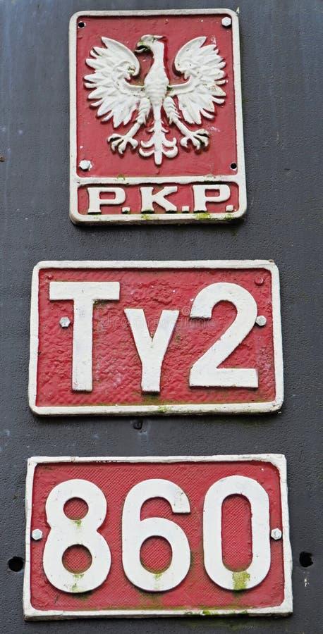 Маркировки польского локомотива пара стоковое изображение rf