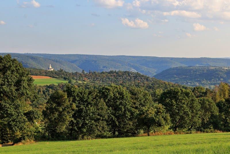 Марксбург на обширном ландшафте Средне-Рейнской долины в Германии стоковое фото