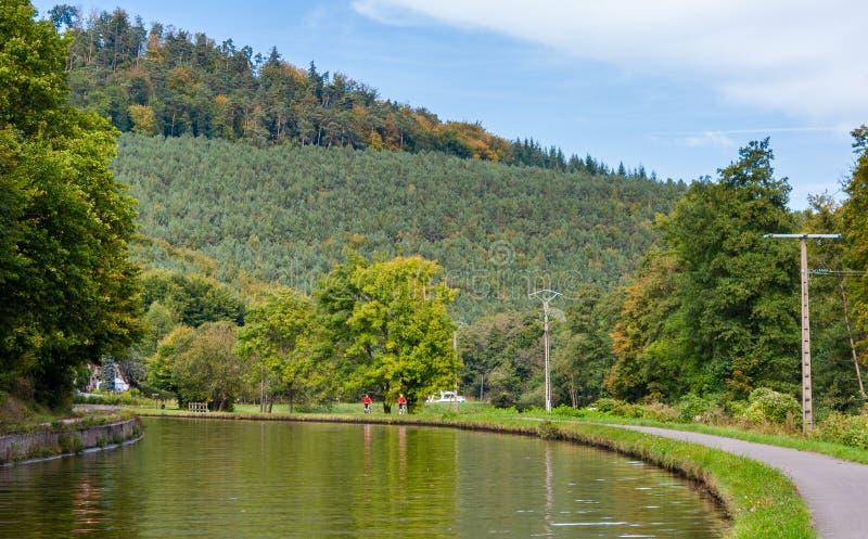 Марна - канал в горах Вогезы, Alsase Рейна, Франция стоковые фотографии rf