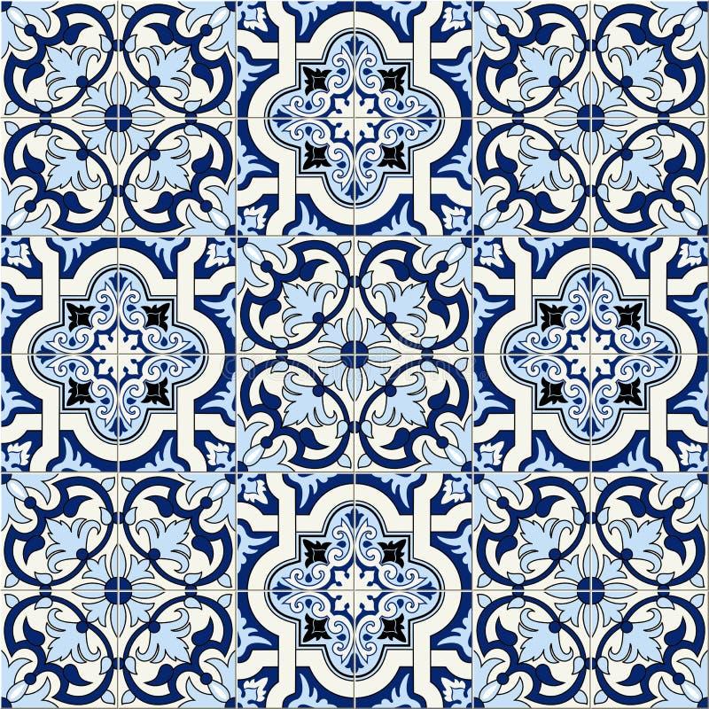 Марокканец шикарной безшовной картины белый голубой, португальские плитки, Azulejo, орнаменты Смогите быть использовано для обоев иллюстрация вектора