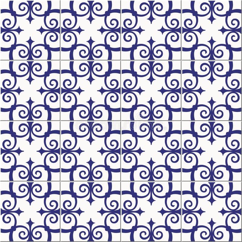 Марокканец шикарной безшовной картины белый голубой, португальские плитки, Azulejo, орнаменты Смогите быть использовано для обоев бесплатная иллюстрация