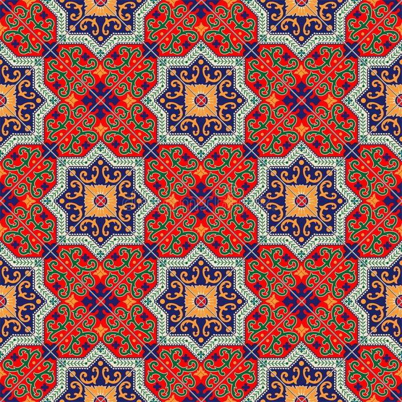 Марокканец шикарной безшовной картины белый красочный, португальские плитки, Azulejo, орнаменты Смогите быть использовано для обо иллюстрация вектора