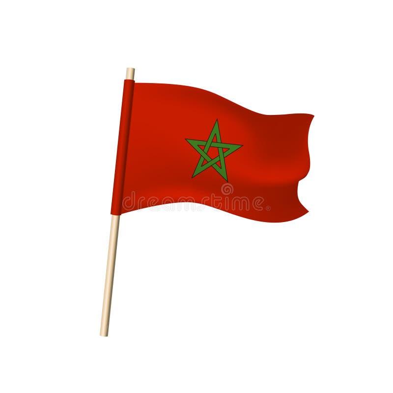 Марокканський флаг на белой предпосылке иллюстрация вектора