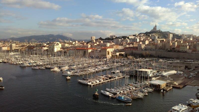 Марсель - порт le vieux - взгляд от fortess стоковое фото