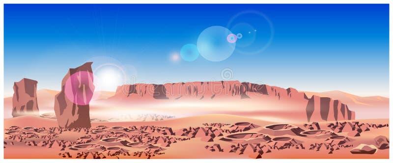 Марсианский ландшафт иллюстрация штока