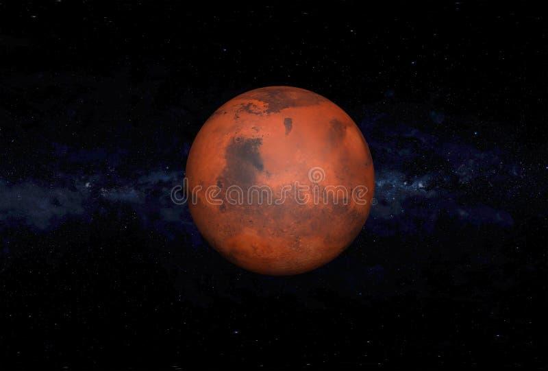 Марс в глубоком космосе, иллюстрации 3D иллюстрация штока