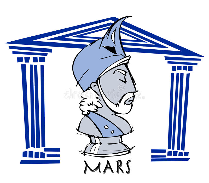 Марс, ares, античный бог иллюстрация штока