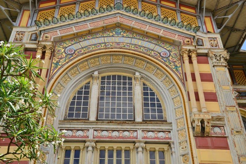 Мартиника, живописная библиотека Schoelcher Фор-де-Франс внутри стоковые изображения rf