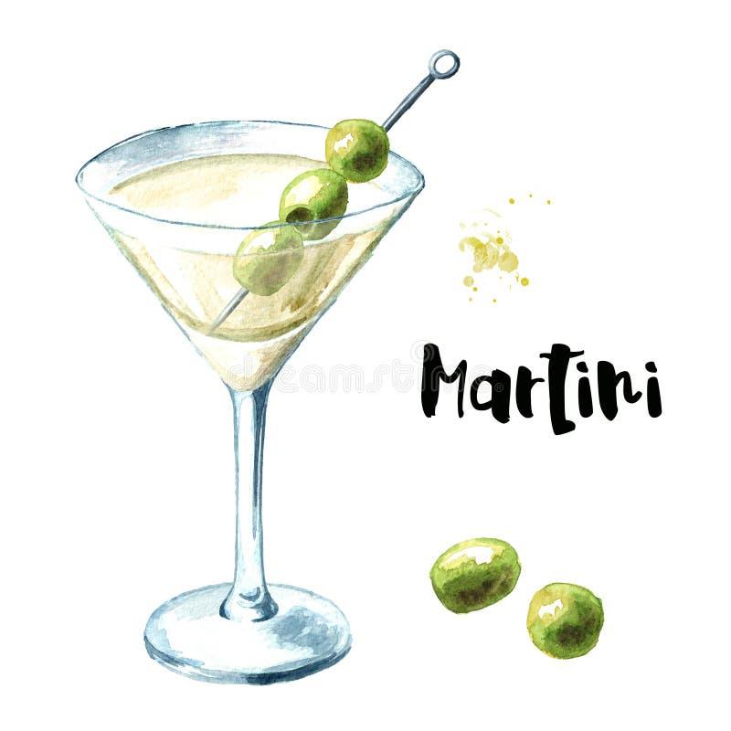 Мартини с оливками, иллюстрация руки акварели вычерченная изолированная на белой предпосылке бесплатная иллюстрация