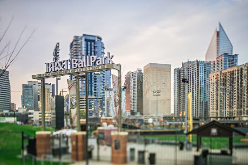 Март 2017 Шарлотта NC США - граф стадиона бейсбольного стадиона бейсбола BBT стоковое фото