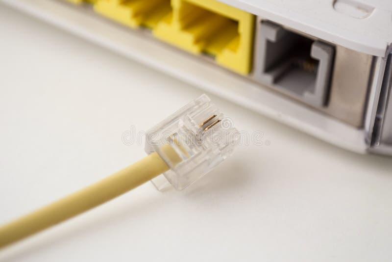 Маршрутизатор кабеля телефона стоковое фото