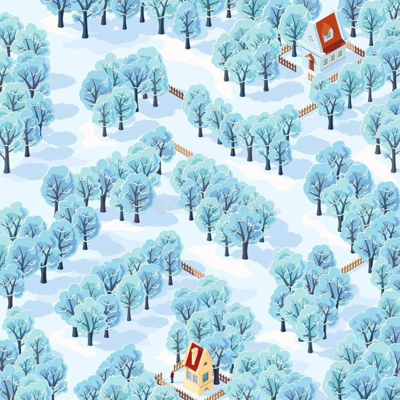 Help the person find the way from his house to the next among the winter trees. royalty free stock images