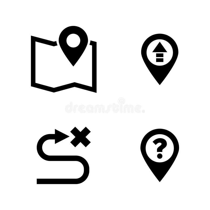 Маршрут GPS, расстояние Простые родственные значки вектора иллюстрация вектора
