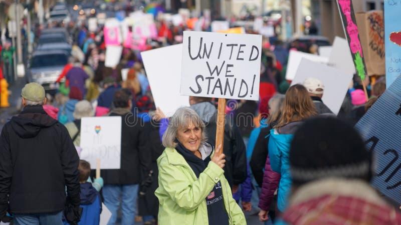Марш женщин на Олимпии 2017 стоковые фото
