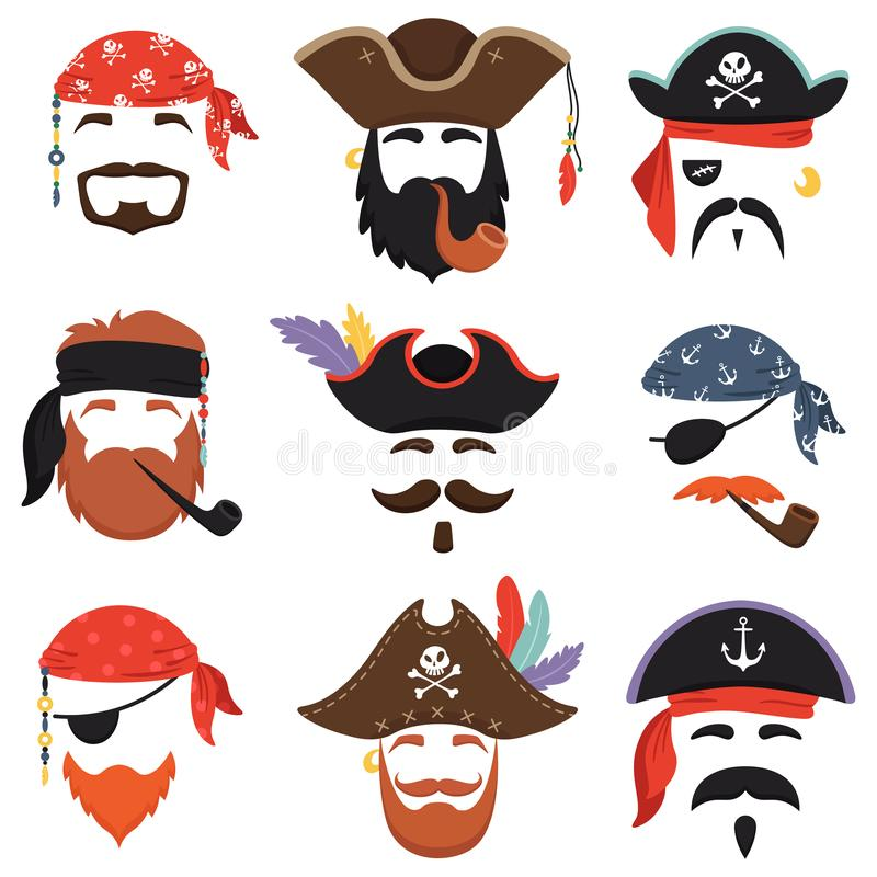 Маска пирата масленицы Смешное море пиратствует шляпы, bandana путешествием с волосами dreadlocks и вектор маск дыма изолированны бесплатная иллюстрация