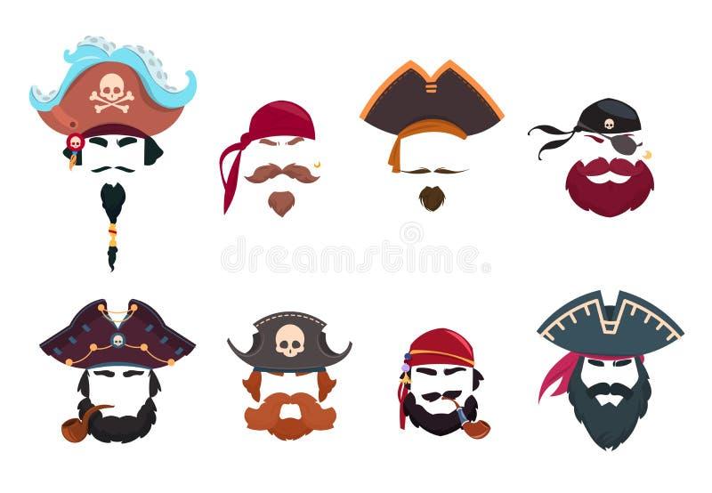 Маска пирата Смешные фильтры фото стороны Шляпы пиратов, bandana и набор вектора трубы курения изолированный иллюстрация штока