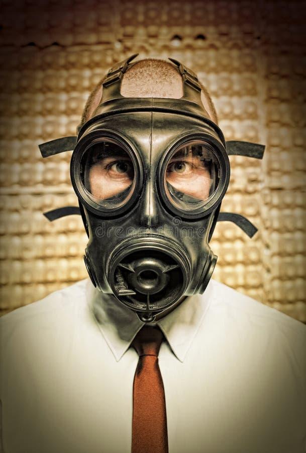 маска противогаза бизнесмена стоковая фотография rf