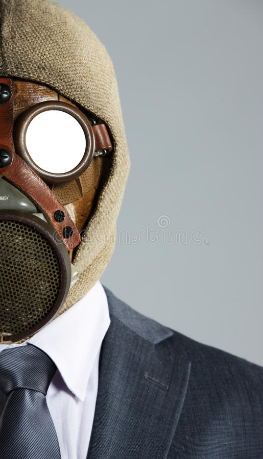 маска противогаза бизнесмена стоковое изображение rf