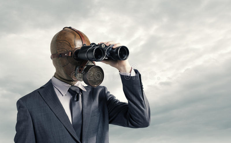 маска противогаза бизнесмена стоковые фотографии rf