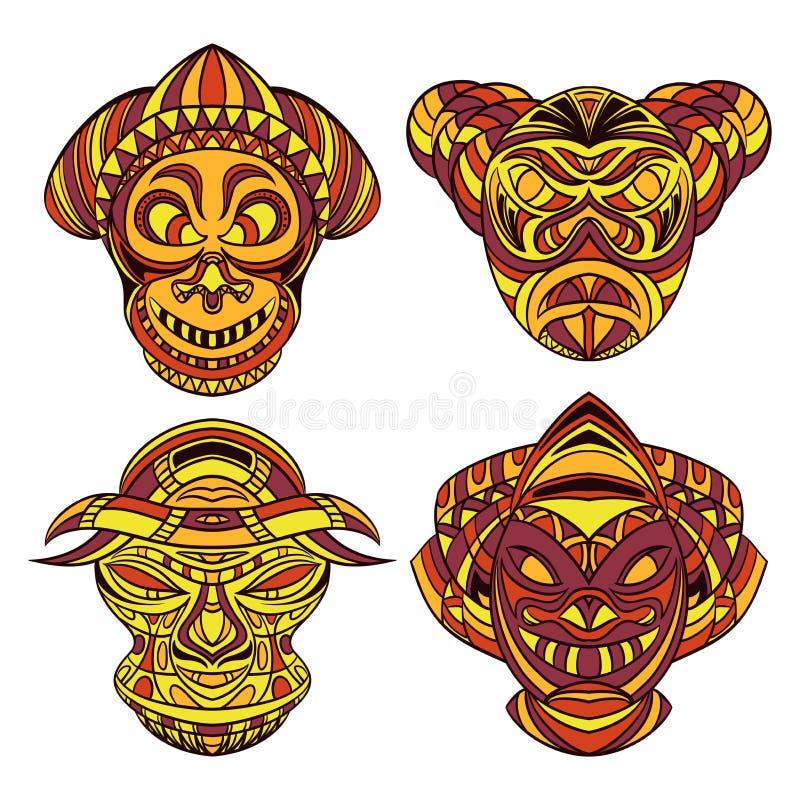маска соплеменная Собрание маск с этническим геометрическим орнаментом иллюстрация вектора