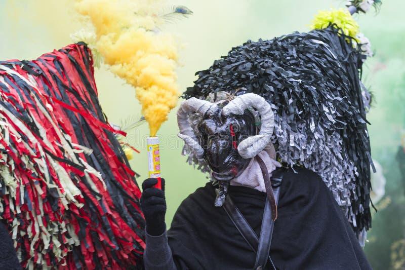 Маска с рожком и шляпой на провинции Aliano Matera стоковые фотографии rf
