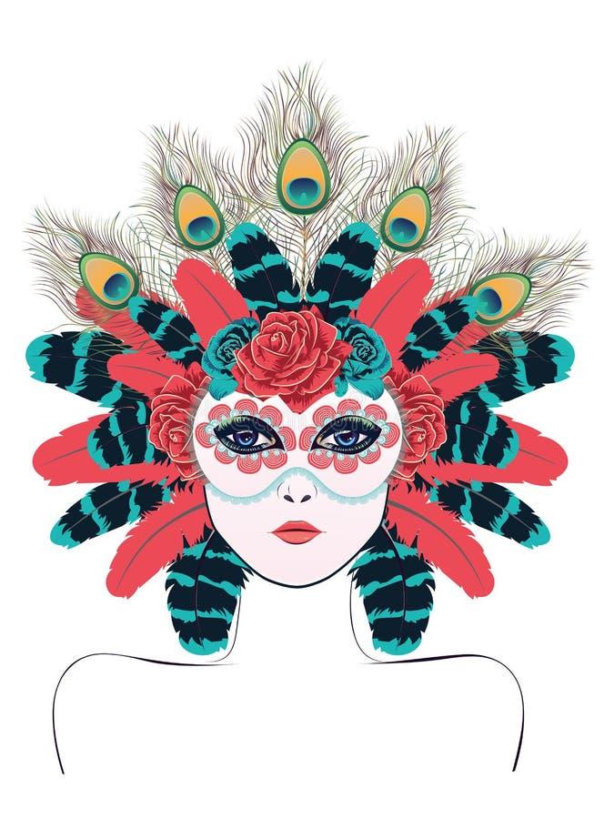 Маска с розами и пер бесплатная иллюстрация