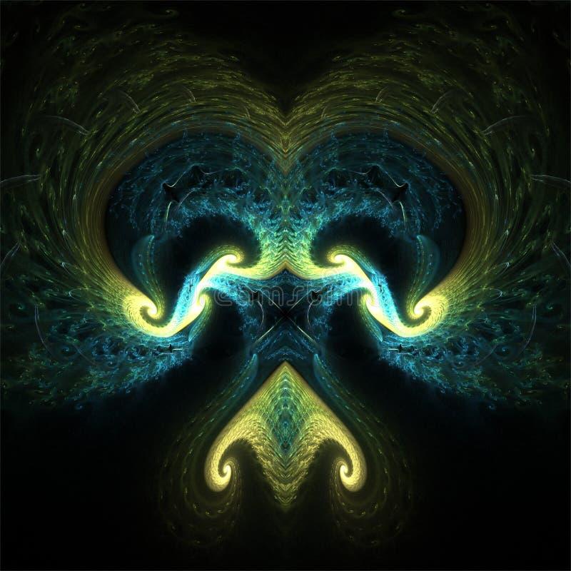 Маска фракталей конспекта искусства фрактали вычислительной машины дискретного действия темная пугающая иллюстрация штока