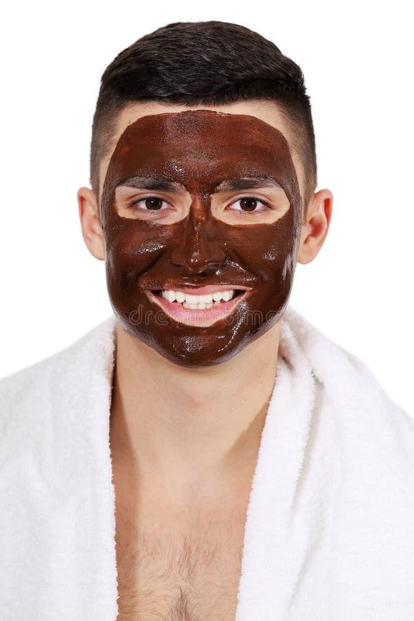 Маска шоколада на стороне ` s человека стоковое фото rf