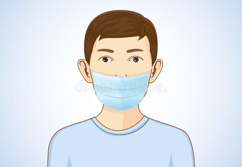 Маска дыхания мальчика нося бесплатная иллюстрация