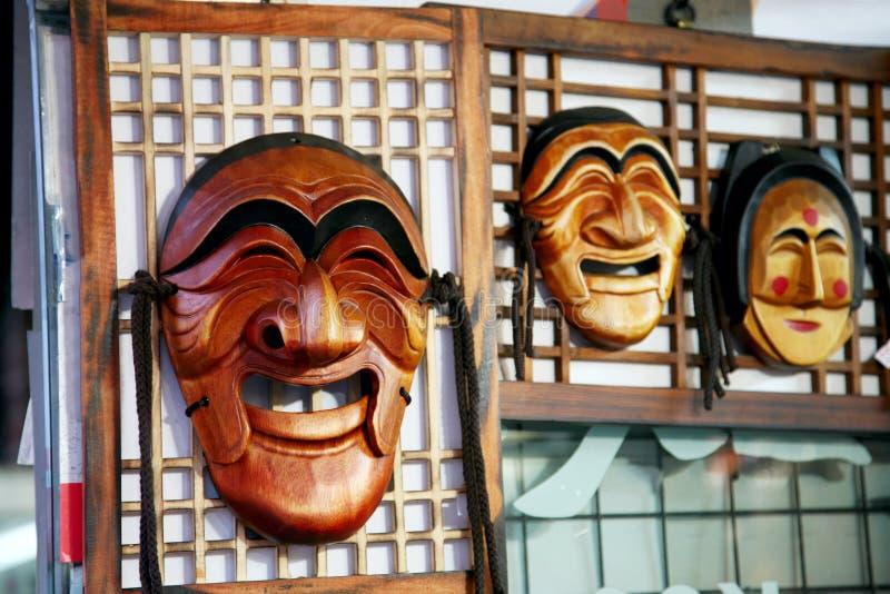 маска hahoe hahoetal деревянная стоковое изображение rf