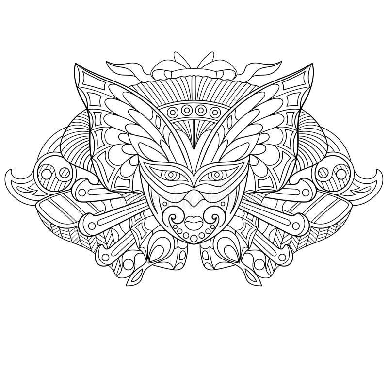 Маска Zentangle стилизованная carnaval иллюстрация штока