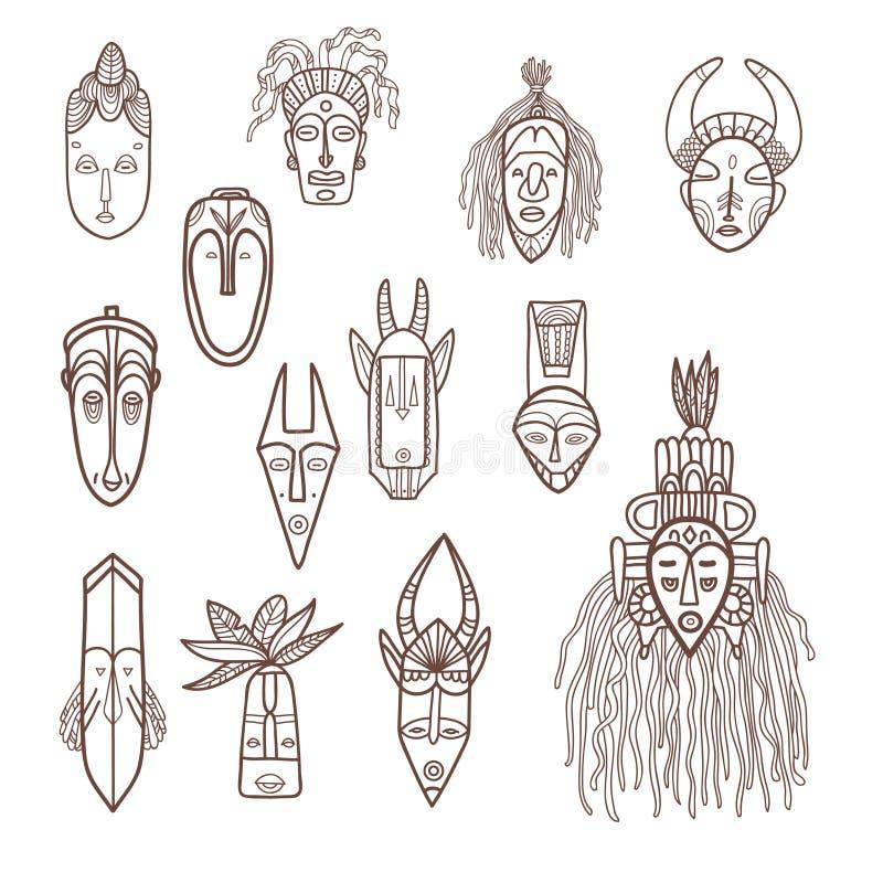Маски нарисованные рукой африканские иллюстрация вектора