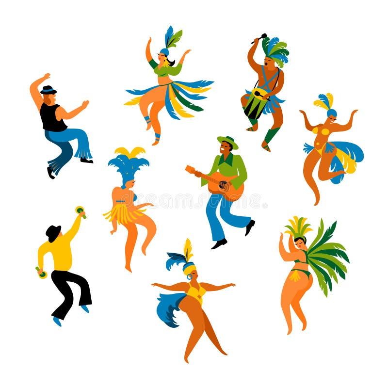 Масленица Бразилии Vector иллюстрация смешных людей и женщин танцев в ярких костюмах иллюстрация вектора