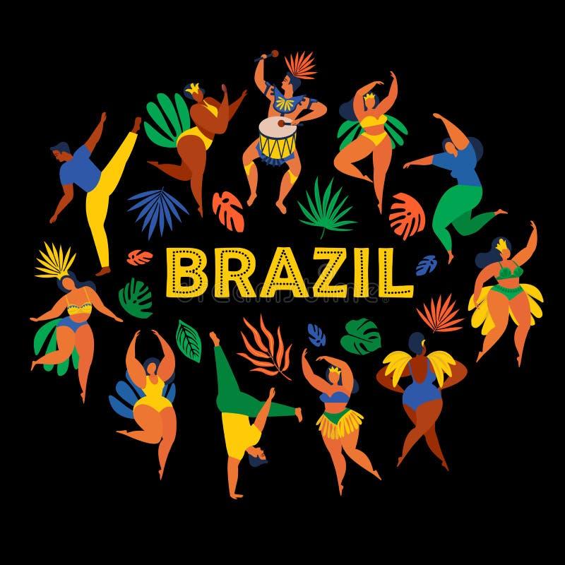 Масленица Бразилии Vector иллюстрация смешных людей и женщин танцев в ярких костюмах Элемент дизайна для масленицы бесплатная иллюстрация
