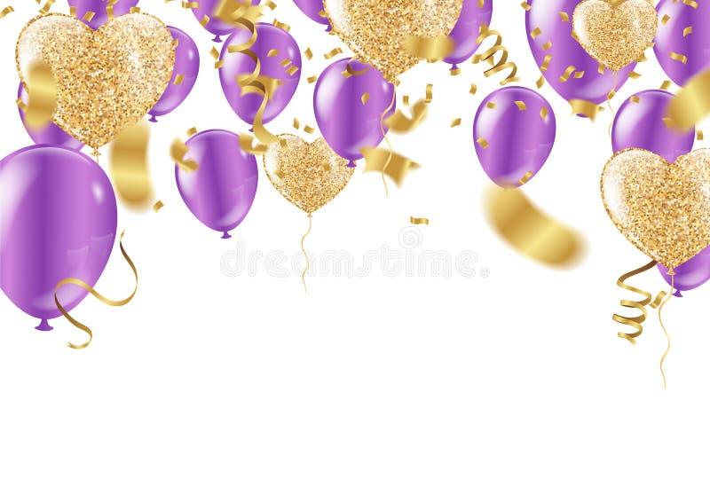 Масленица confetti воздушного шара пурпурные красочные или рамка партии воздушных шаров, лент иллюстрация вектора