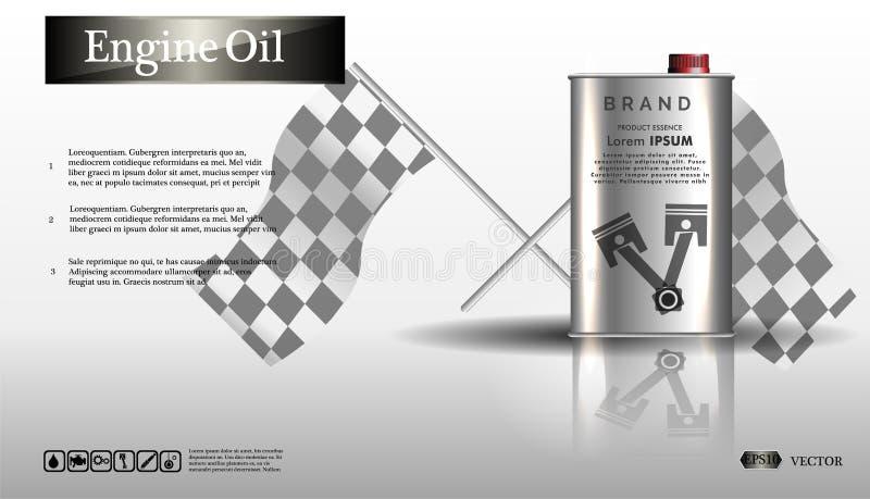 Масло двигателя в железном опарнике Разлейте масло по бутылкам двигателя на белой предпосылке с шестерней, чистом векторе Реалист иллюстрация вектора