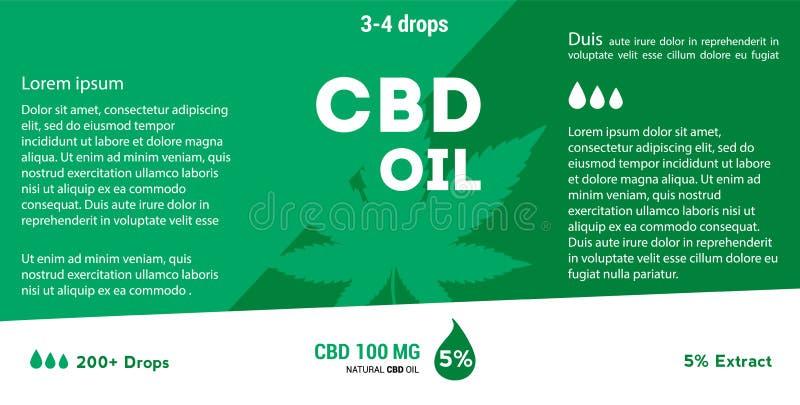 Масло конопли вектора зеленое Масло CBD Ярлык лист марихуаны иллюстрация штока