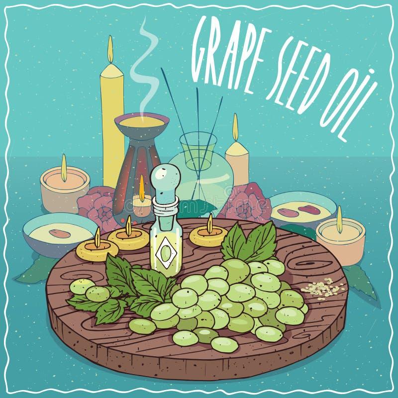 Масло семени виноградины используемое для ароматерапии иллюстрация вектора