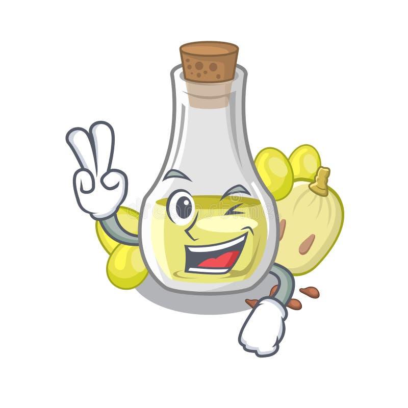 Масло семени виноградины 2 пальцев в бутылке мультфильма иллюстрация вектора