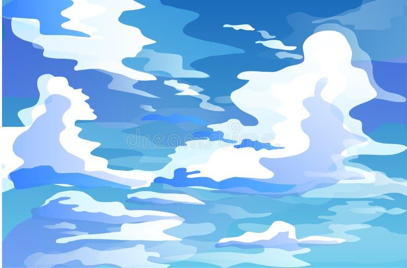Массивнейшие облака кумулюса в векторе неба в течение дня иллюстрация штока