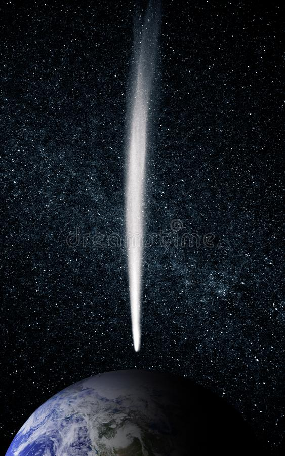 Массивный астероид движется к земле стоковое изображение rf