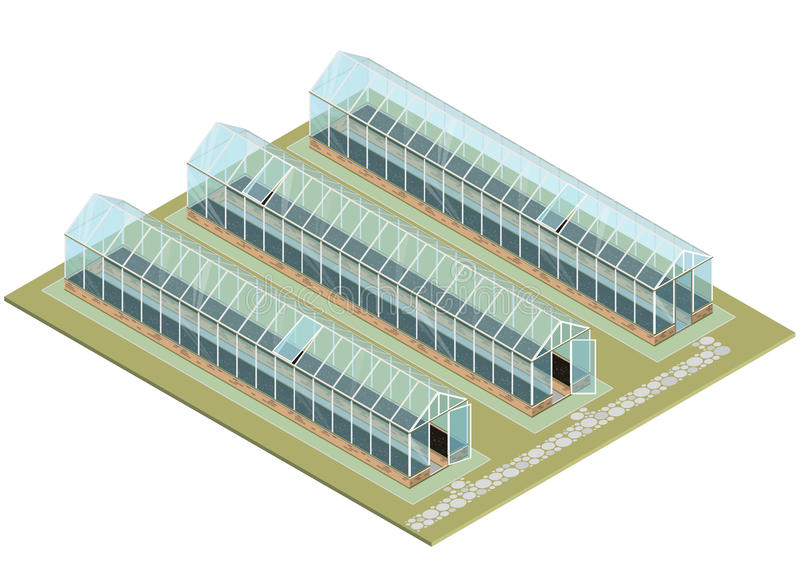 Массовая ферма Равновеликий парник с стеклянными стенами, учреждениями, крышей щипца бесплатная иллюстрация
