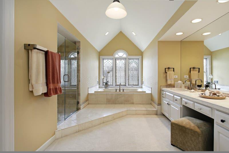 Мастерская ванна с стенами золота стоковое фото
