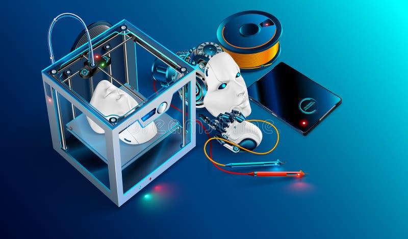 мастерская печатания 3d напечатанная принтером голова робота 3d Робот разделяет производство с аддитивной технологией печатание 3 иллюстрация вектора