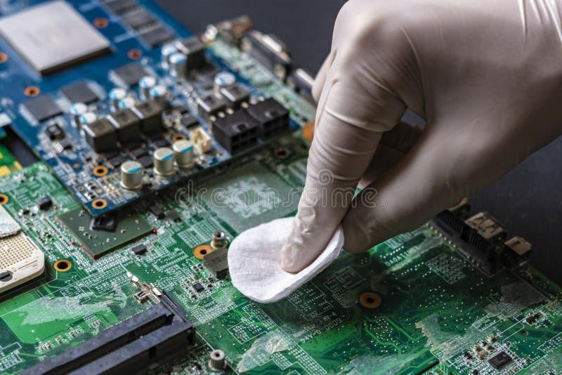 Мастерский ремонт части компьютера, очищая доску используя тампон f ваты стоковая фотография rf