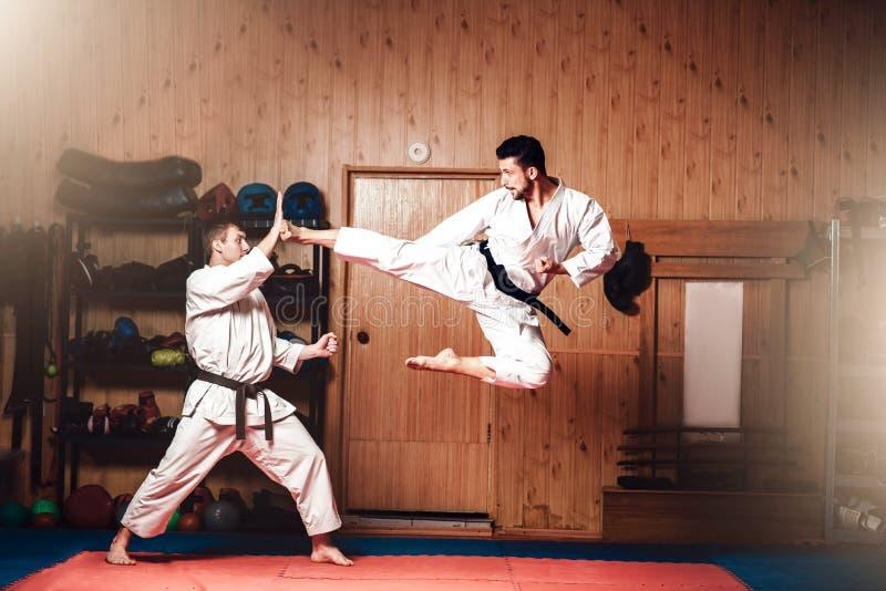 Мастеры боевых искусств, практика карате в спортзале стоковые фотографии rf