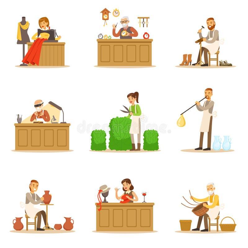 Мастеры мастерства ремесленника, взрослые люди и хобби и профессии ремесла установленные иллюстраций вектора бесплатная иллюстрация