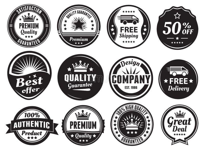 12 масштабируемых винтажных значков иллюстрация вектора